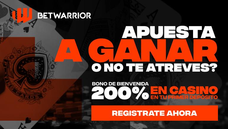 200% hasta 500 $ Bono de bienvenida en el casino Betwarrior. ¡Juega juegos de casino seleccionados y esta oferta es solo para nuevos jugadores!